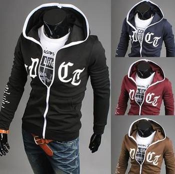 2014 autumn new  men's Korean leisure cotton brocade hit color mosaic hooded comfortable slim coat Blazer Free shipping