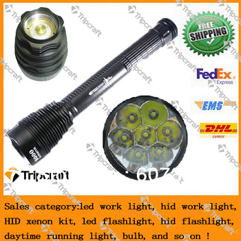 8000LM TrustFire 7*T6 7xCREE XM-L T6 LED Rechareable flashlight/torch TR-J18 18650 rechargeable bateery /TrustfireJ18 Flashlight