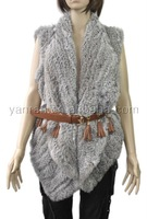 Free shipping YR-078C Fashion style handknitted genuine rabbit fur vest~Drop shipping~wholesale~Retail