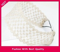 Wholesale and Retail freeshipping snow lace design headband wide elastic hairband black and white assorted 12pc/lot