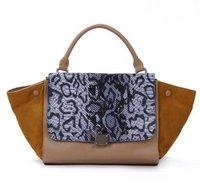 Genuine Leather Big Brand Classic Colourblock Snake patten Trapeze Handbag Shoulder Bag