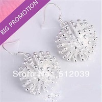 Merry Christmas! LOWEST FASHION spherical Sliver Flower Studs Earrings Vintage Jewelry  CLOVER1131N/E114
