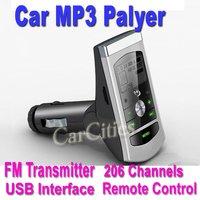 car FM modulator,Car MP3 Player,car Wireless FM transmitter with remote control USB interface,206 Channels,drop shipping
