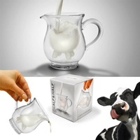 2014 Glass milk cup Fred and Friends Half Pint Creamer,calf Half mini carton creamer milk mug 11*11*11cm  free shipping