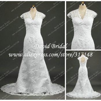 Real Sample DR085 Sexy Spanish Cap Sleeve Mermaid Lace Wedding Dress Keyhole Back