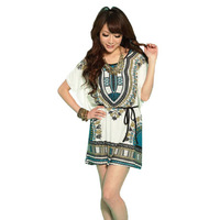 Free shipping 2013 New Miniskirt Lce Silk Cotton Bat Sleeve Round Brought National Wind Match Chatelaine Dress RG1206015