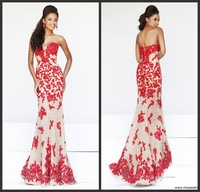 2014 Strapess Floor-Length Red Lace Mermaid Evening Formal Dress Prom Gown Custom Made All Sizes