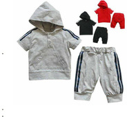 New Arrivals!sporting boys clothing sets, active boys 2pieces suits,kids top+shorts children clothing set 3 color can choose