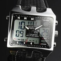 FREE SHIPPING!!Mixed color wholesale OHSEN Watch Digital Alarm Dual Time Waterproof Diver Sport Watches  4colors 27pcs/lot A168