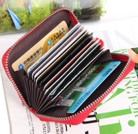 Free shipping GENUINE LEAHTER Fashion zipper credit name card holder wallet promotion gifts CCBB8