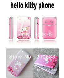 W999 CUTE UNLOCKED HELLO KITTY FLIP MOBILE PHONE CAMERA MP4 TV RUSSIAN KEYBOARD(China (Mainland))