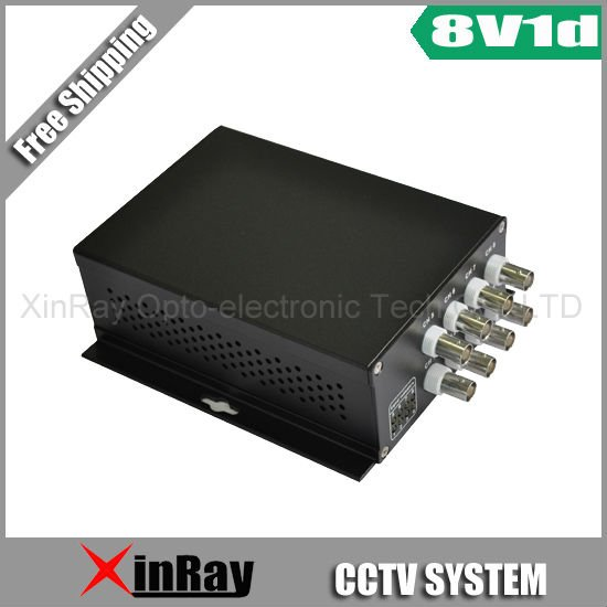 Free shipment*1 pair CCTV XR8583 Point to Point 8 channel Video + Reverse 1 channel Data Fiber Optic Transmission System(China (Mainland))
