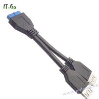 Free shipping Supper Speed 5Gbps USB3.0 19pin / 20 pin to Dual USB3.0 data cable length 14cm