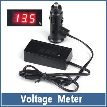 1x 12V 24V Auto Car Voltage Meter Truck Electric Red LED Digital Battery Cigarette Lighter Volt Meter Monitor Gauge Panel