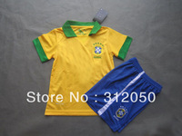 Youth Kids boys girls baby children's soccer uniforms brazil 13 14 home yellow jersey and short football kits