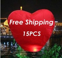 Factory Direct 15 PCS/Lot Love Heart Flying Sky Lantern Flashlight For Wedding Free Shipping To Worldwide( 9colors for choice)
