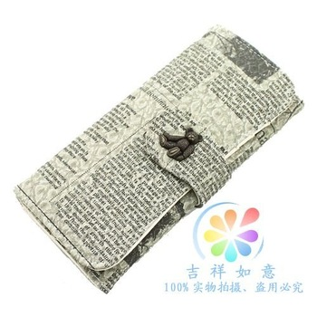 New Arrival teddy bear Retro newspaper women long wallet/purse brand QJA purse lady coin wallet women fashion hasp wallet