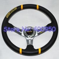 Titanium Frame 14 inch MOMO Drifting Steering Wheel PVC Deep Dish MOMO PVC Wheel Racing Car Steering Wheel
