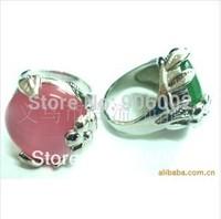 wholesale 15pcs /lot mixed size mixed shape colore Rose quartz natural stone cat's eye stone finger ring  middle size m0222