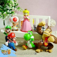 Wholesale - 6pcs/set Super Mario Bros Collection Figures Doll Toy 4-7cm sets Free shipping