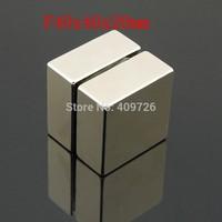 Free Shipping 2PCS/LOT, craft super strong rare earth Powerful N50 NdFeB magnet Neodymium permanent Magnets F40x40x20mm