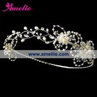 Hand-made Gorgeous Silver Freshwater Pearl Circlet Bridal Headband Tiara Flower Bridal Wedding Crown,free shipping