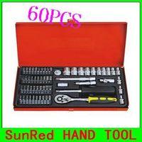 SunRed BESTIR taiwan made 60PCS 6.3MM Socket&bit socket Set Chrome-Vanadium Steel tool kit for car repair NO.91101 freeship