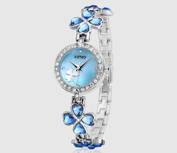 2015 New fashion women dress jewelry KIMIO diamond watches clover bracelet rhinestone watch women elegance wristwatches K456L