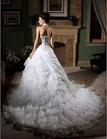 Stunning Ball Gown High Neck Chapel Train Organza Tiered Wedding Gown
