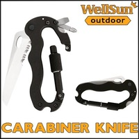 MOQ: 1pc  Multi-function Camping Knife Carabiner Tool W/ Knife  Bottle Opener Screwdriver Black  #OT-015
