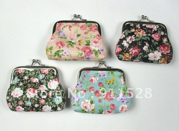 "Free Shipping + Promotion! QB001 3.6"" x 2.8"" Lovely Floral Metal Frame Coin Wallet Purses 24pcs Wholesale"