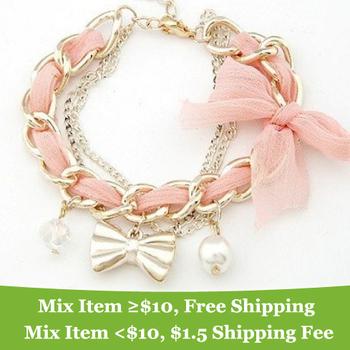 Lovely!!! pearl Bow bracelet Charm Bracelet Jewelry  wholesale