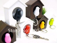 Free Shipping 10 pieces/lot Sparrow Key Ring with Birdhouse Keychain Gadget for Home Decoration