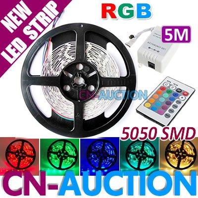 FREE SHIPPING! 5M RGB 5050 SMD 150 LED Strip Non-Waterproof LED Flexible Light Strip + 24key IR Remote (CN-LS46) [Cn-Auction](China (Mainland))