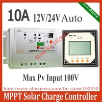 2012 New Arrival Free Shipping 10A MPPT Solar Charge Controller Tracer1210 with LCD Remote Display Meter MT-5,12/24V Auto work,