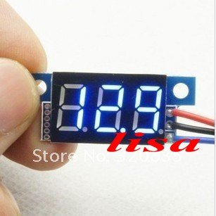Freeshipping slim Digital Voltmeter 0-99VLED Lithium Battery Ultra Small Panel Blue Meter