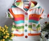Baby girls' kids Sweater fashion knitted hooded fringe cardigan coat outwear Jersey Knitwear free shipping