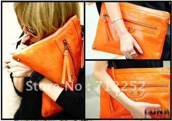 Free Shipping 2013 New European Famous Brand Design Envelope ladies' day clutches With Rivet Taseel(Orange+Black)120617#3