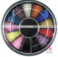 12 Color Nail Art Pearl Professional 100 Black Wheels Nail Art Mini Beads Decoration - DHL Free Shipping