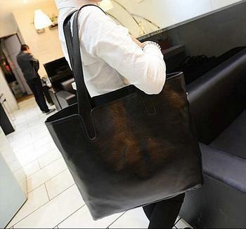 BEST-SELLING!!!Black restoring ancient Big Shopping Bag Fashion PU computer bags,free shipping