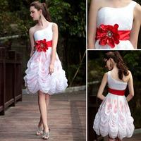 DORISQUEEN  ready to wear Cheap One Shoulder Princess Wedding Party Dresses 6026 Red Flower Belt Short Bridesmaid Dresses 2015