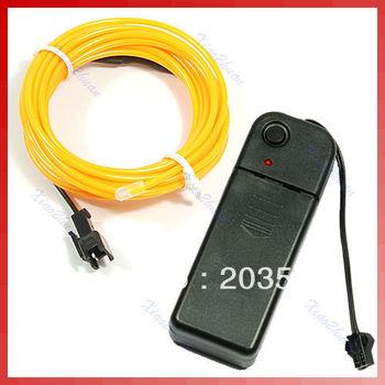 D19+Free Shipping 4 Pcs/Lot 3M Flexible Neon Light Glow EL Wire Rope Car Party 4 Colors