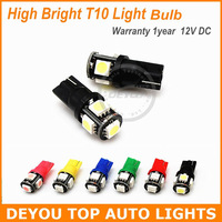 Hot Selling 2pcs High Bright  5SMD 5050  T10 W5W 194 168  LED Width Lamp  car wedge light bulb car lighting 1year warranty