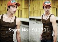 Hot wholesale cheap high quality  Vest male pure cotton men's clothing render male vest sports fitness