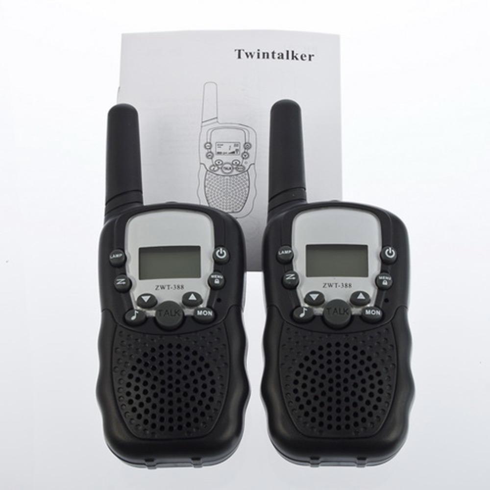 2pcs T-388 Dual Black Adjustable Portable Mini Wireless LCD 5KM UHF Car Auto VOX Multi Channels 2-Way Radio Travel Walkie Talkie
