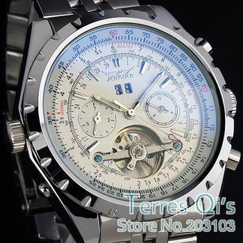 JARAGAR Luxury Watch for Men CHRO AUTO Tourbillon Mechanical Watches Stell Men's Watch Wristwatch Free ship