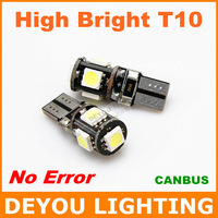 High Bright  No Error Canbus T10 W5W 168 921 5SMD 5050 LED width Lamp car wedge light bulb car lighting 1year warranty