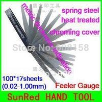 SunRed BESTIR taiwan made heat treated spring steel 100*17sheets(0.02-1.00mm) Feeler Gauge Auto Tools  NO.07522 freeshipping