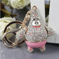 Free Shipping New Design Crystal Cool  Fat Starfish Keychain  Keyring Bag/Purse  Charm gift Real Gold Plated HSKC0011