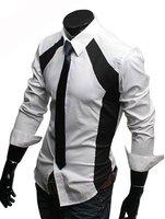 Classic mixed colors new starting draping slim long-sleeved shirt